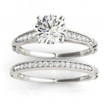 Diamond Accented Textured Bridal Set Setting 18K White Gold (0.21ct)