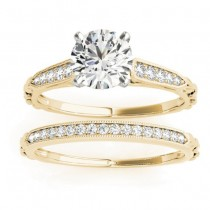 Diamond Accented Textured Bridal Set Setting 18K Yellow Gold (0.21ct)