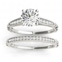 Diamond Accented Textured Bridal Set Setting Platinum (0.21ct)