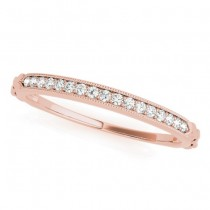 Diamond Accented Textured Wedding Band 14k Rose Gold (0.05ct)