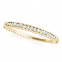 Diamond Accented Textured Wedding Band 14k Yellow Gold (0.05ct)