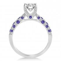 Alternating Diamond & Tanzanite Engravable Engagement Ring in 14k White Gold (0.45ct)