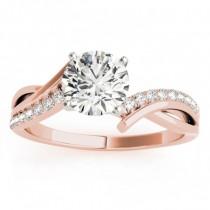 Diamond Twist Bypass Bridal Set Setting 14k Rose Gold (0.17ct)