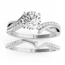 Diamond Twist Bypass Bridal Set Setting 14k White Gold (0.17ct)