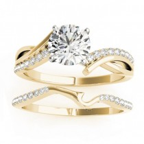 Diamond Twist Bypass Bridal Set Setting 14k Yellow Gold (0.17ct)