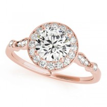 Round Diamond Halo Engagement Ring 14k Rose Gold (1.17ct)