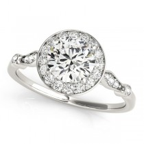 Round Diamond Halo Engagement Ring 14k White Gold (1.17ct)