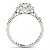 Round Diamond Halo Engagement Ring 14k White Gold (1.17ct)