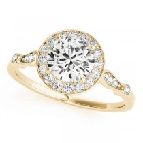 Round Diamond Halo Engagement Ring 18k Yellow Gold (1.17ct)