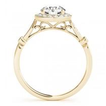 Round Diamond Halo Engagement Ring 18k Yellow Gold (1.17ct)