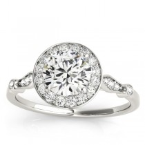Halo Diamond Accented Engagement Ring with Vintage Flair 14k White Gold (0.17ct)