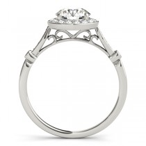 Round Diamond Halo Engagement Ring Palladium (1.17ct)