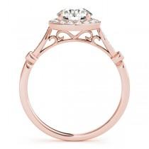 Diamond Halo Engagement Ring & Wedding Band 14k Rose Gold (1.25ct)