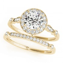 Diamond Halo Engagement Ring & Wedding Band 14k Yellow Gold (1.25ct)