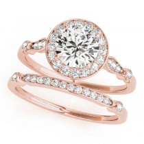 Diamond Halo Engagement Ring & Wedding Band 18k Rose Gold (1.25ct)