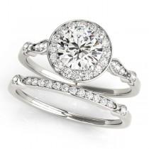 Diamond Halo Engagement Ring & Wedding Band 18k White Gold (1.25ct)