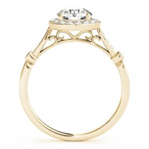 Diamond Halo Engagement Ring & Wedding Band 18k Yellow Gold (1.25ct)