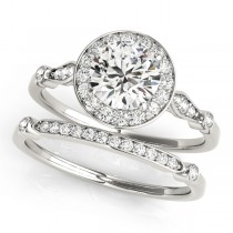 Diamond Halo Engagement Ring & Wedding Band Palladium (1.25ct)