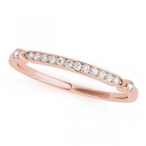 French Pave Diamond Wedding Ring Band 18k Rose Gold (0.08)