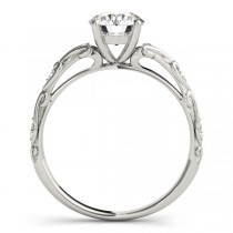 Diamond Antique Style Engagement Ring Palladium (0.03ct)