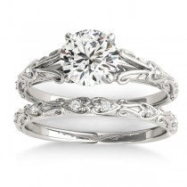 Diamond Antique Style Bridal Set Palladium (0.07ct)