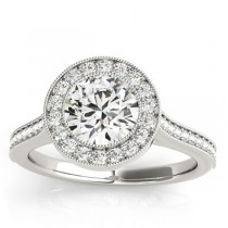 Milgrain Cathedral Halo Engagement Ring Setting 14k White Gold (0.33ct)