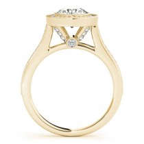 Milgrain Cathedral Engagement Ring Setting 14k Yellow Gold (0.33ct)