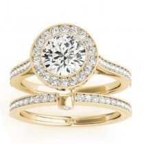 Diamond Accented Bridal Set Setting 18k Yellow Gold (0.47ct)