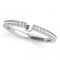 Diamond Accented Semi-Eternity Wedding Ring Band 14k White Gold (0.14ct)