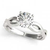 Diamond Twisted Shank Engagement Ring in 14k White Gold