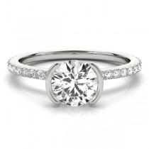 Semi-Bezel Diamond Engagement Ring Setting 14k White Gold (0.30ct)