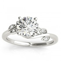 Diamond Spiral Floral Vine Engagement Ring Setting 14k White Gold (0.086ct)