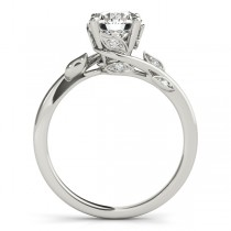 Bypass Floral Diamond Bridal Set Setting 14k White Gold (0.15ct)