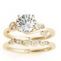 Diamond Floral Vine Leaf Bridal Set Setting 14k Yellow Gold (0.15ct)