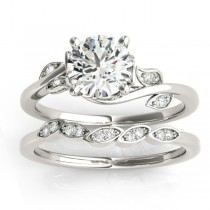 Diamond Floral Vine Leaf Bridal Set Setting Platinum (0.15ct)
