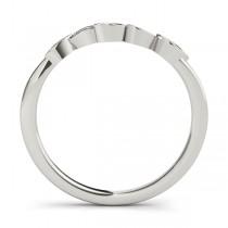 Floral Diamond Wedding Ring Band 14k White Gold (0.05ct)