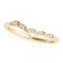 Floral Diamond Wedding Ring Band 18k Yellow Gold (0.05ct)