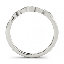 Floral Diamond Wedding Ring Band Palladium (0.05ct)