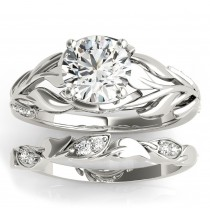Nature Inspired Diamond Bridal Set 14k White Gold (0.19ct)