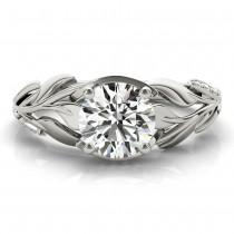 Nature-Inspired Diamond Leaf Bridal Set Setting 18k White Gold (0.19ct)