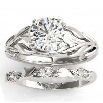 Nature-Inspired Diamond Leaf Bridal Set Setting Platinum (0.19ct)