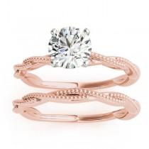 Tripple Layer Elegant Twisted Bridal Set Setting 14k Rose Gold