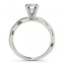 Solitaire Twist Engagement Ring & Wedding Band 14k White Gold