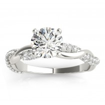 Vine Leaf Infinity Diamond Engagement Ring Setting 14k White Gold (0.40ct)