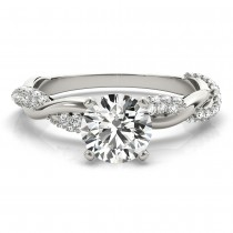 Vine Leaf Infinity Diamond Engagement Ring Setting 14k White Gold (0.40ct)|escape