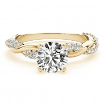 Infinity Twist Diamond Engagement Ring Setting 14k Yellow Gold (0.40ct)