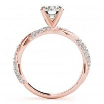 Infinity Twist Diamond Engagement Ring Setting 18k Rose Gold (0.40ct)
