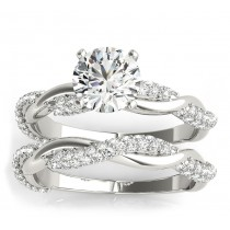 Vine Leaf Infinity Diamond Bridal Set 14k White Gold (0.80 ct)