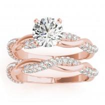 Infinity Twist Diamond Bridal Ring Set Setting 18k Rose Gold (0.80ct)
