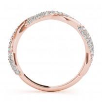 Infinity Twist Diamond Wedding Ring Band 18k Rose Gold (0.40 ct)
